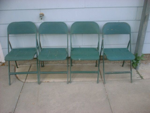 LYON Aurora ILL Metal Folding Chairs Machine Age Industrial Heavy Dut