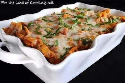 Turkey, italian sausage, mushroom, marinara, and ricotta pasta bake