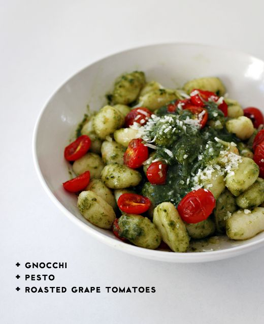 gnocchi, roasted grape tomatoes and homemade basil pesto. yum!