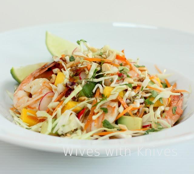 Asian Shrimp and Mango Slaw 4-6 cups shredded cabbage 1-2 carrots ...