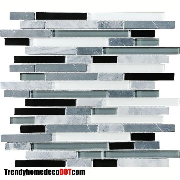 sample gray black glass marble mosaic tile backsplash