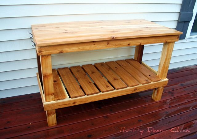 Potting table thrifty decor chick outdoor craft pinterest for Pottery barn bench plans