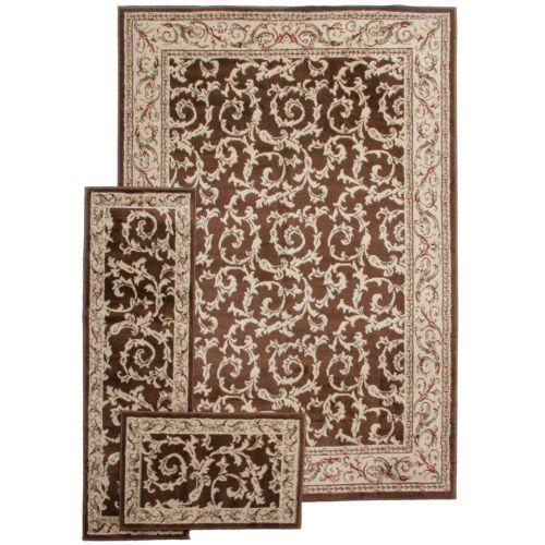 3pc rug set brown frenchie 5x7 carpet area rug sets living room runne