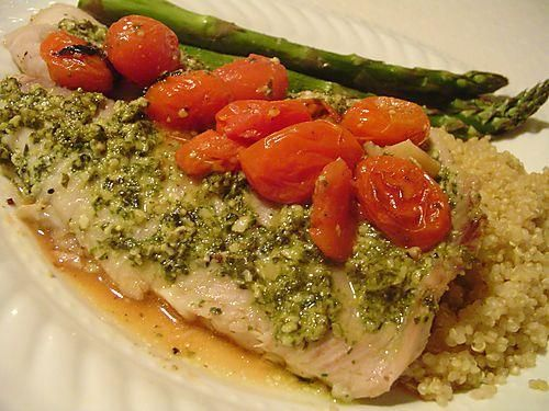 Tilapia with Lemon Pesto and Roasted Tomatoes - Recipe Detail ...