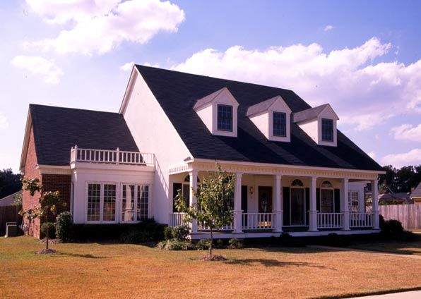 Cape cod colonial country southern house plan 98372 for Colonial cape cod house plans