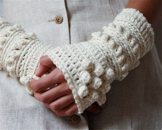 White Crochet Wrist Warmers....Id love to have a pair but just less ...