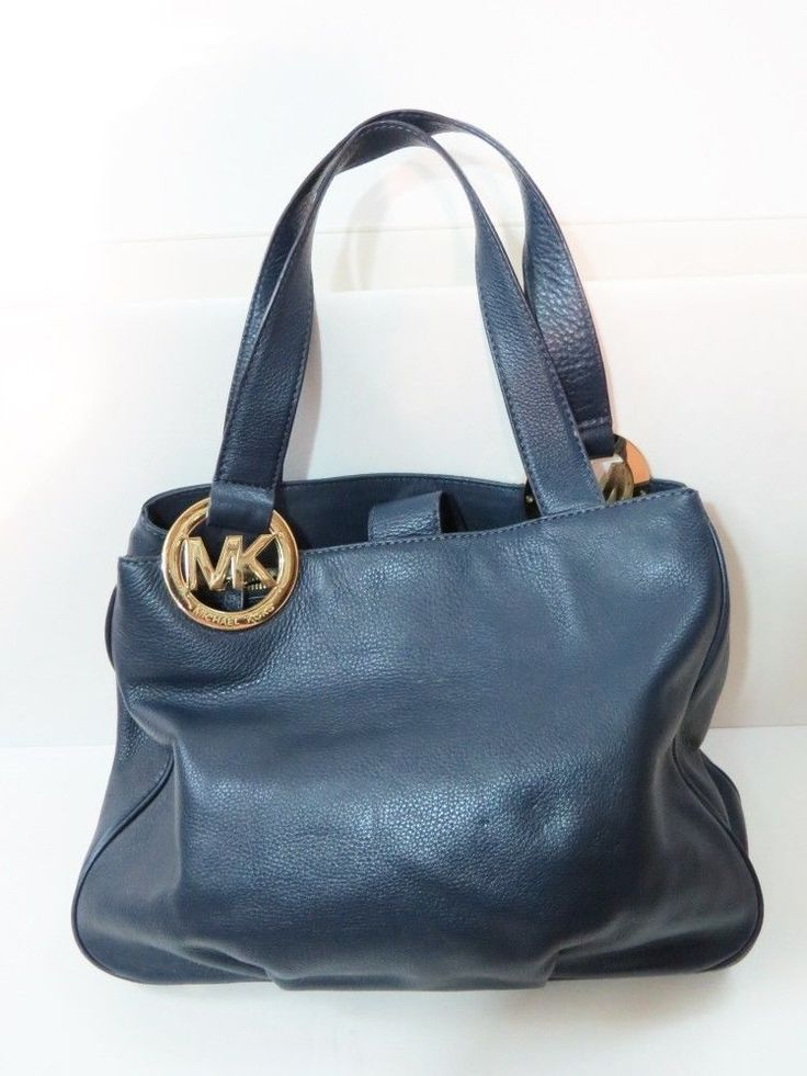 Auth MICHAEL KORS Navy Blue Pebbled Leather Logo FULTON Tote Bag Purse ...