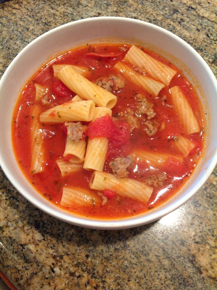 pizza soup so easy and so yummy made with sausage pepperoni