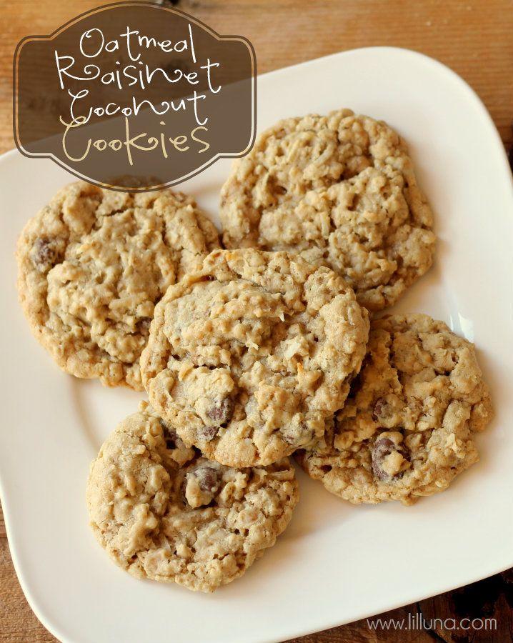 Oatmeal Raisinet Coconut Cookies { lilluna.com }