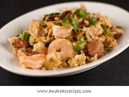 Jambalaya with Shrimp, Chicken, Andouille, and Ham