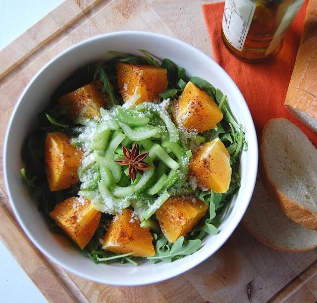 arugula, fennel, and orange salad with star anise balsamic vinaigrette