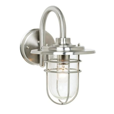 A great outdoor wall sconce with a modern industrial feel. From http://www.lampsplus.com/products/stratus-collection-12-and-one-half-inch-high-outdoor-light__22647.html