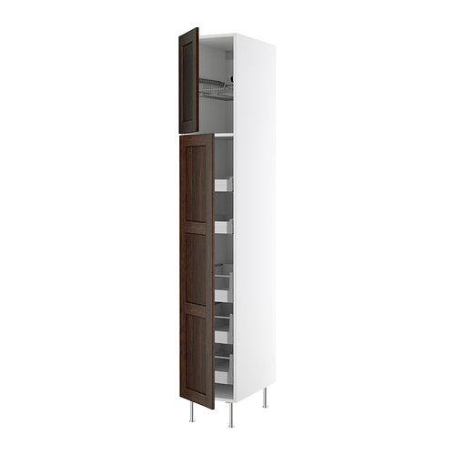 AKURUM High cabinet w drawers/wire basket, birch, Ädel medium brown