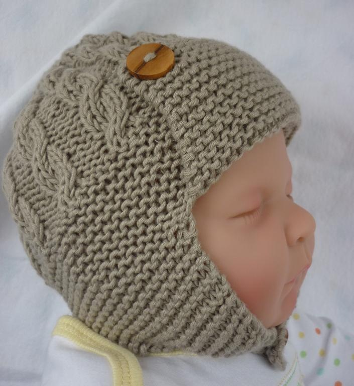 Knitting Pattern For Baby Aviator Hat : Cabled Baby ... by Julie Taylor Knitting Pattern