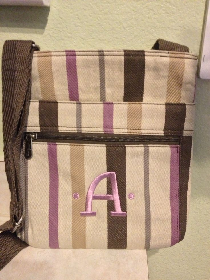 Thirty one organizing bag plum twill stripe with lavender