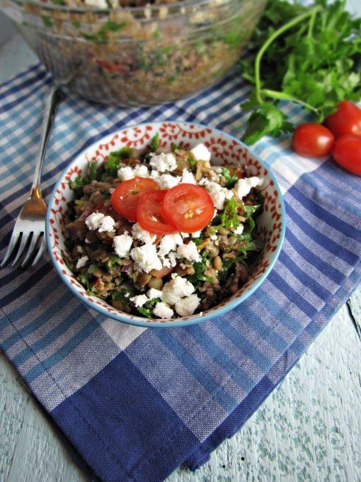 Lentil and Feta Cheese Tabbouleh #vegetable #salad #vegetarian # ...