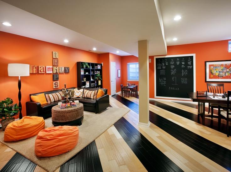bright orange playroom basement decorating pinterest