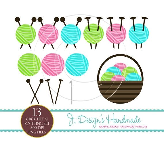 Knitting And Crocheting Clipart : Crochet and knitting clip art pinterest