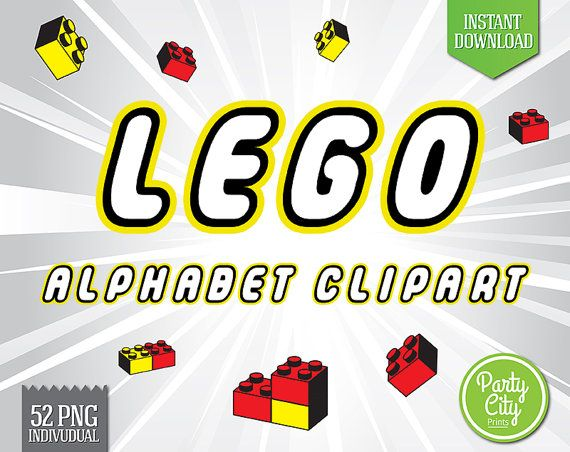 Lego Inspired Alphabet Clipart, Printable Lego Letters + Numbers ...