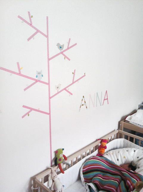 Washi tape wall decor mommo design for Washi tape wall art