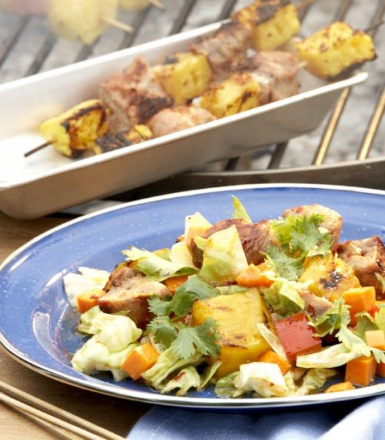Latin-style Cabbage Salad with Grilled Pork and Pineapple...unusual ...