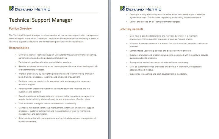 Technical Support Manager Job Description A Template To