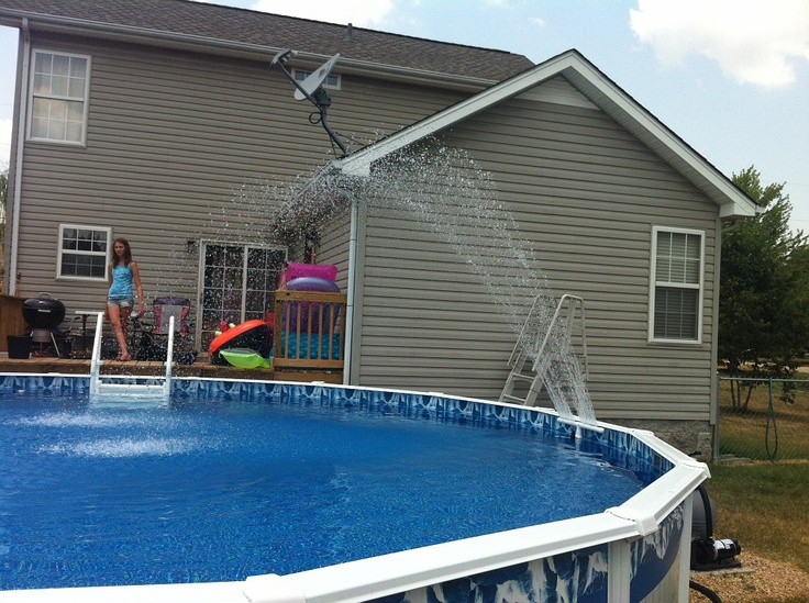 diy swimming pool fountain image outdoors