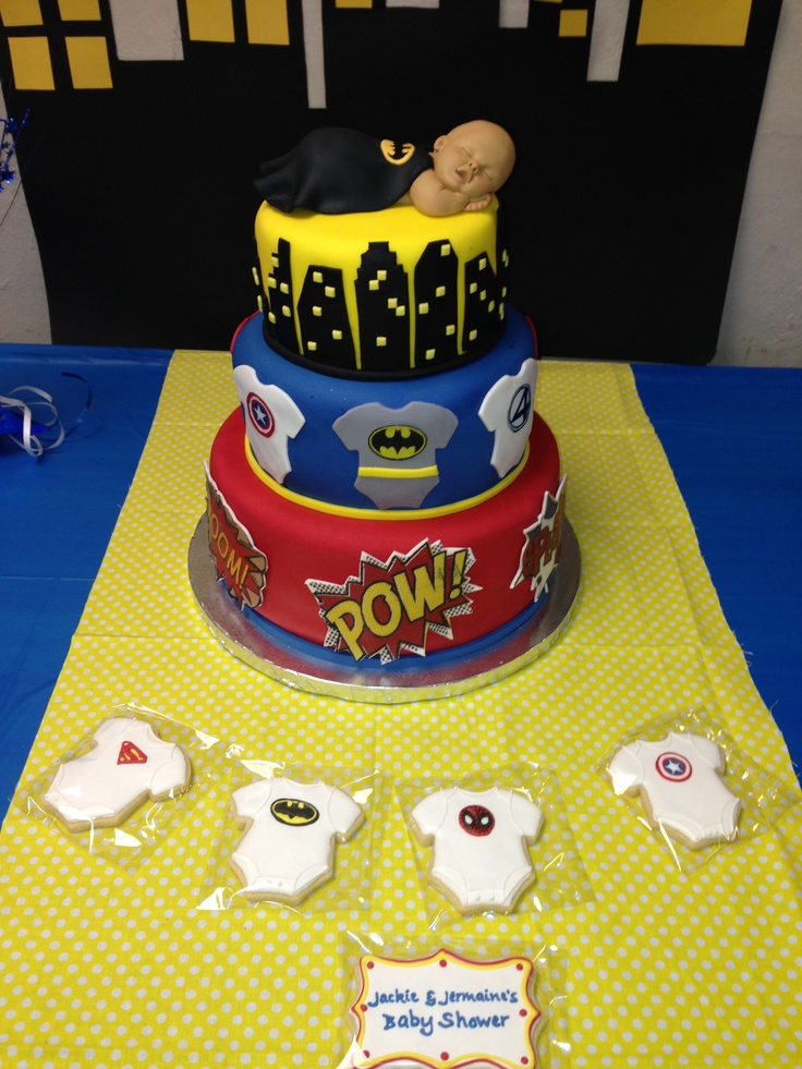 awesome super hero baby shower cake by ibake