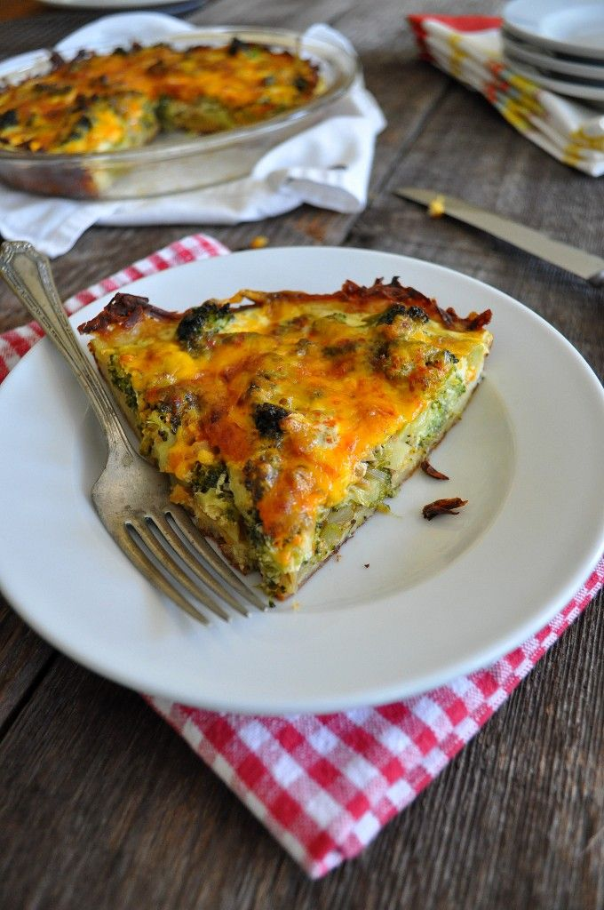 Broccoli and Cheddar Pie with Potato Crust