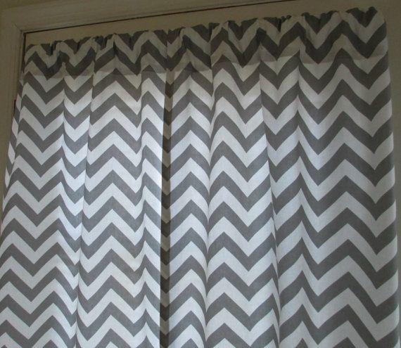 Two curtain panels 25 x 84 grey chevron zigzag sale by sosarahsews