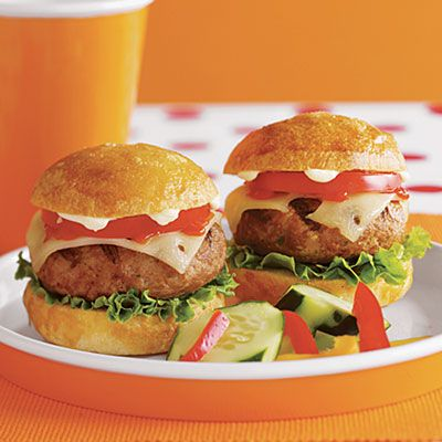 Over-the-Top Turkey Burgers with pepper jack cheese and chipotle mayo ...