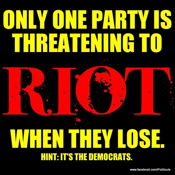 Be prepared for sore losers that love violence typical democrats
