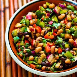 for Southwestern Bean Salad with Black Beans, Black-Eyed Peas, Peppers ...