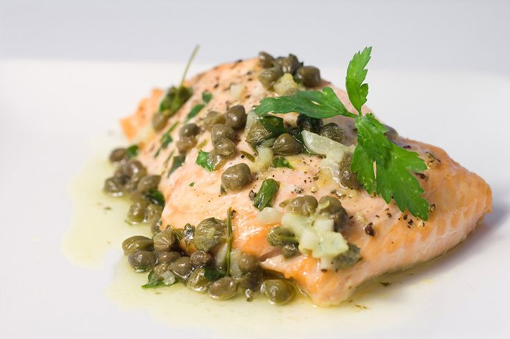 Baked Salmon with Lemon Caper Butter: can cook sitting on a bed of ...
