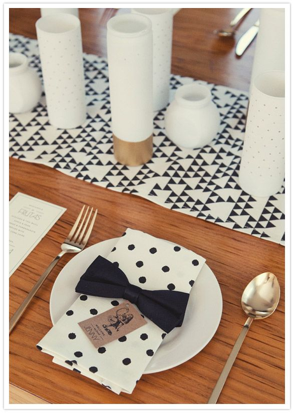 black, white and gold party decor