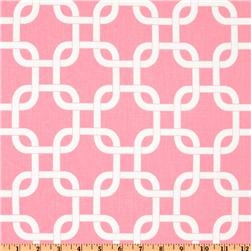 $7.48/yd Premier Prints Gotcha Twill Baby Pink. We can see how it matches up, could be cute option for fabric for pillow on her bench