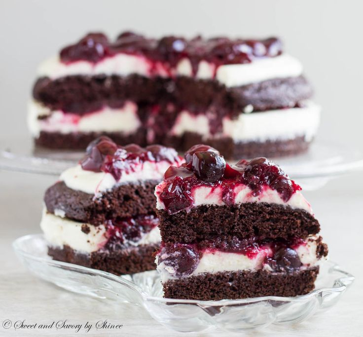 Rich chocolate cake filled with delicate white chocolate mousse and ...