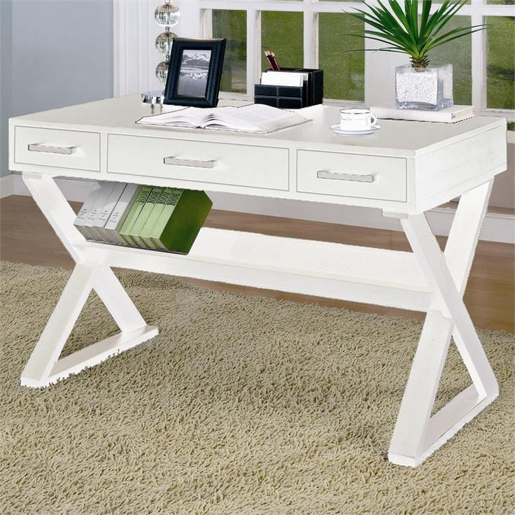 White Wood Writing Desk W Drawers Furniture Pinterest