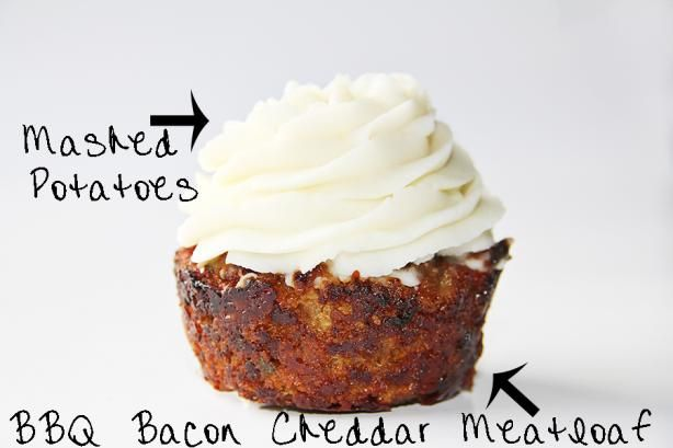 BBQ Bacon Cheddar Meatloaf Cupcake & Mashed Potato Frosting | Recipe