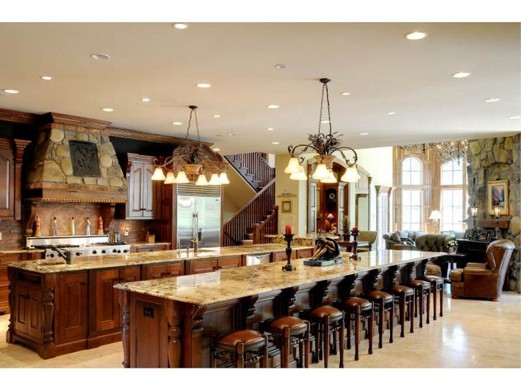 Marble double island kitchen for the home pinterest for Dual island kitchen designs