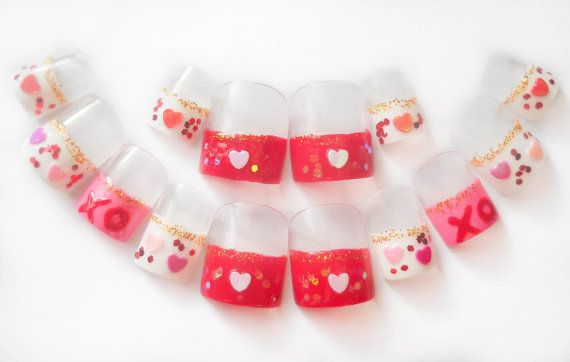valentine fake nails