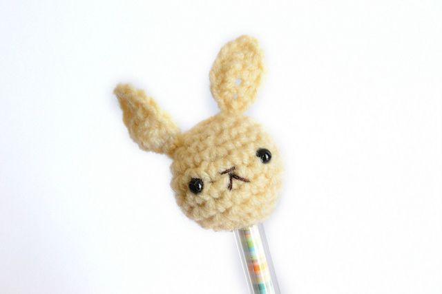 Amigurumi Bunny Pencil Holder : Amigurumi bunny pencil topper pattern by sandy chan