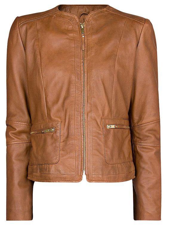 Women tan brown leather jacket women leather by Myleatherjackets, $179