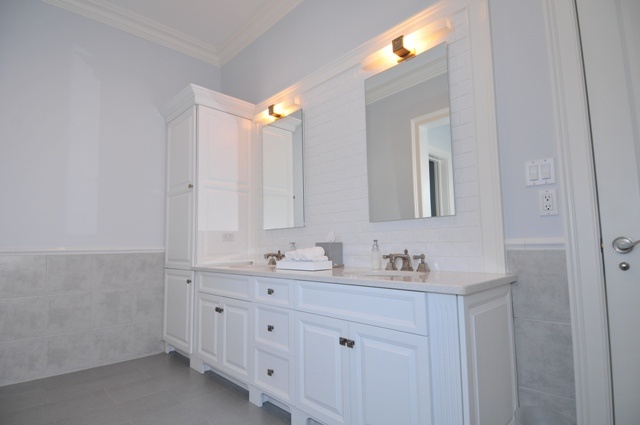 Double Vanity With Storage Tower Love It Home Pinterest