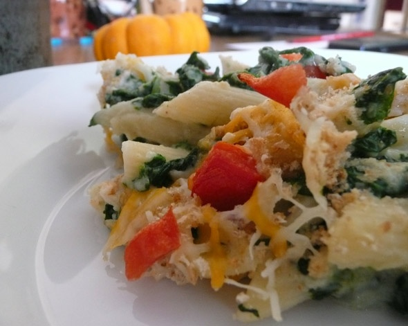 Baked Pumpkin Macaroni & Cheese with Spinach and Tomato