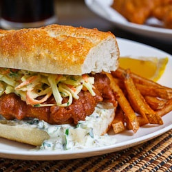 Crispy Beer Battered Fish Sandwich with Coleslaw and Tartar Sauce