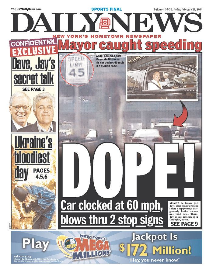 "The Daily News calls de Balsio ""DOPE!"" over speeding report"