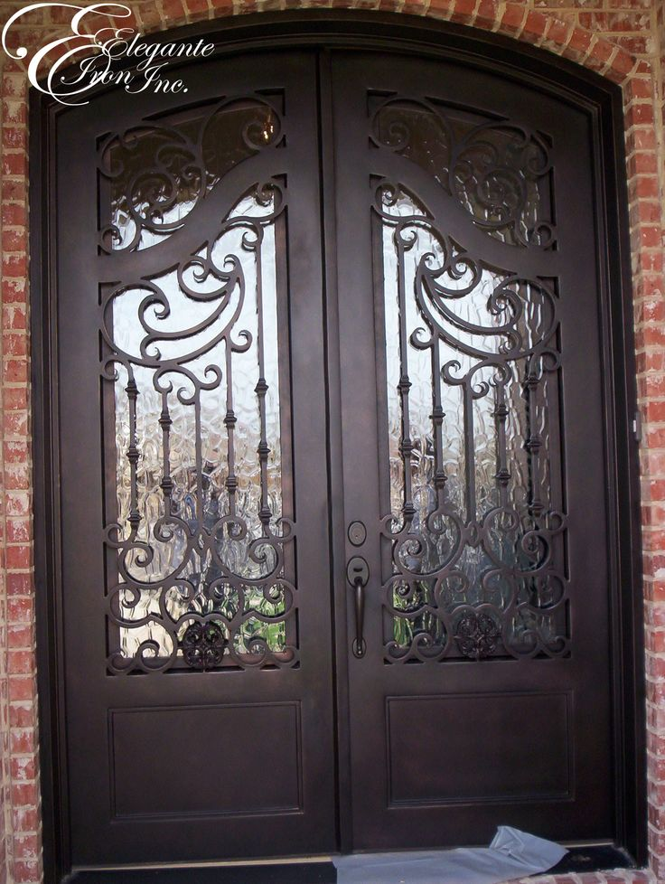 Custom wrought iron front door double doors pinterest for Wrought iron front doors