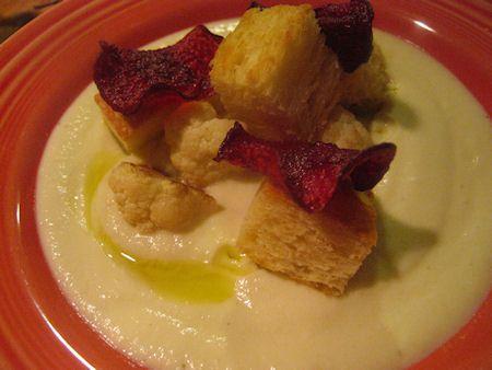 Cauliflower-Parsnip Soup With Beet Crisps Recipe — Dishmaps