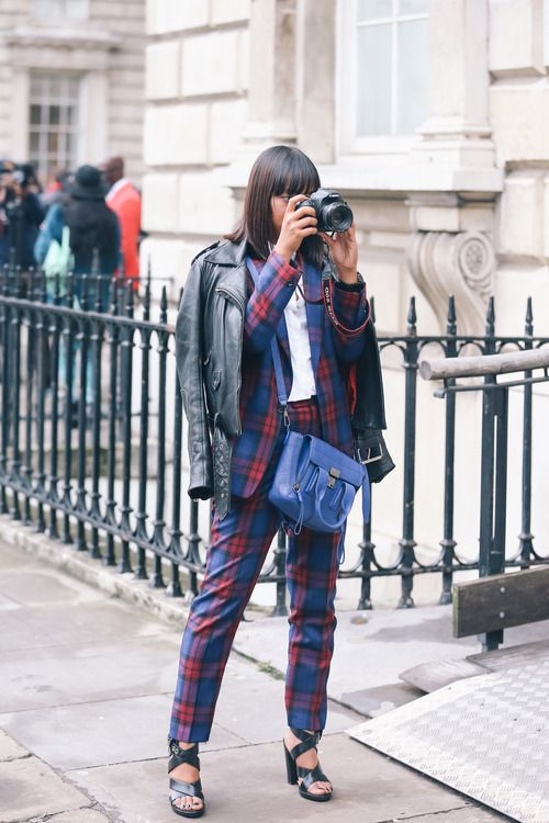German blogger Modejunkie totally rocks our checked suit.